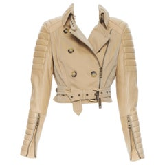 BURBERRY PRORSUM tan quilted ribbed leather sleather sleeve cropped trench IT40