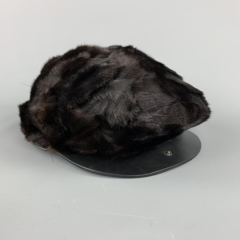 Men's BURBERRY PRORSUM Textured Brown Mink Hat For Sale