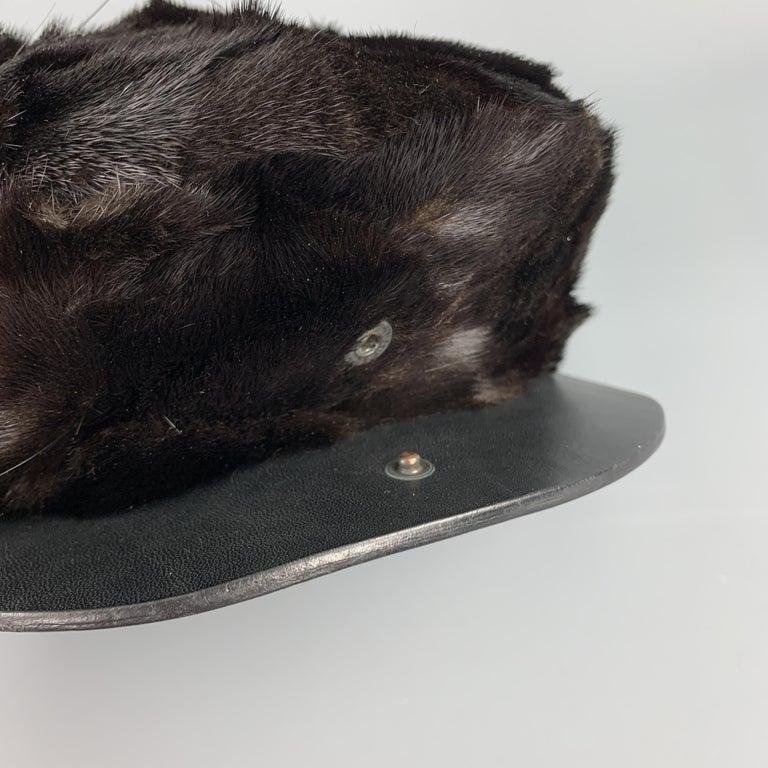BURBERRY PRORSUM Textured Brown Mink Hat For Sale 2