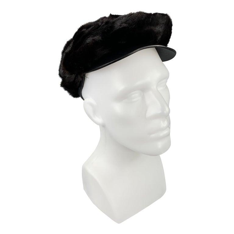 BURBERRY PRORSUM Textured Brown Mink Hat For Sale