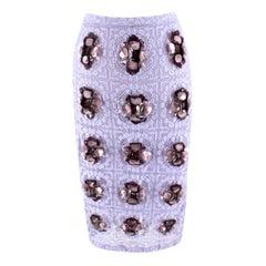 Burberry Prorsum Violet Lace Crystal Embellished Skirt  UK 40
