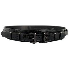 BURBERRY PRORSUM Waist Size 40 Black Patent Leather Double Strap Belt