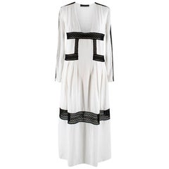 Burberry Prorsum White Silk Empire Waist Lace Trim Dress - Size Small
