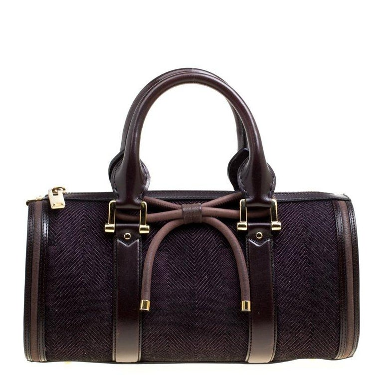 0b9aca08b7 Burberry Purple Canvas and Leather Bow Duffle Bag For Sale at 1stdibs