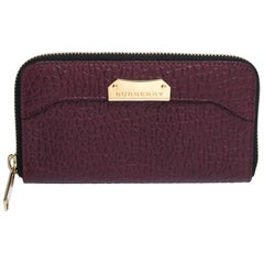 Burberry Purple Leather Zip Around Wallet