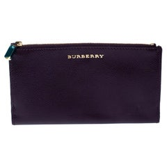 Burberry Purple Patent Leather Constantine Continental Wallet
