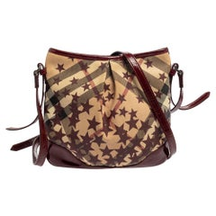 Burberry Red/Beige Supernova Star Coated Canvas And Patent Leather Crossbody Bag