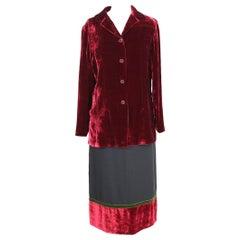Burberry Red Black Green Velvet Cotton Skirt Suit Dress NWT 1990s