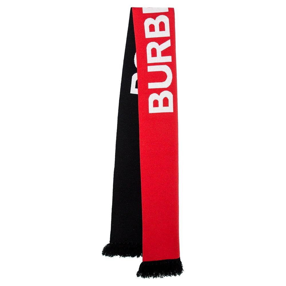 Burberry Red & Black Logo Print Tasseled Cashmere Muffler