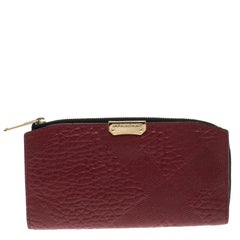 Burberry Red Check Embossed Leather Wallet