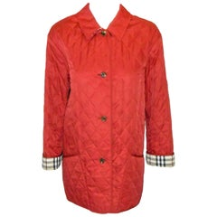 Burberry Red Diamond Quilted Jacket