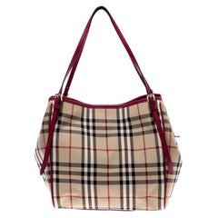 Burberry Red Haymarket Check PVC Small Canterbury Tote