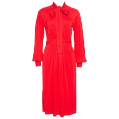 Burberry Red Jersey Top Stitch Detail Tie Neck Dress XS