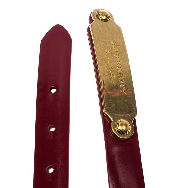 Women's Burberry Red Leather Reese Slim Belt 75 CM For Sale