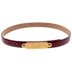 Burberry Red Leather Reese Slim Belt 75 CM