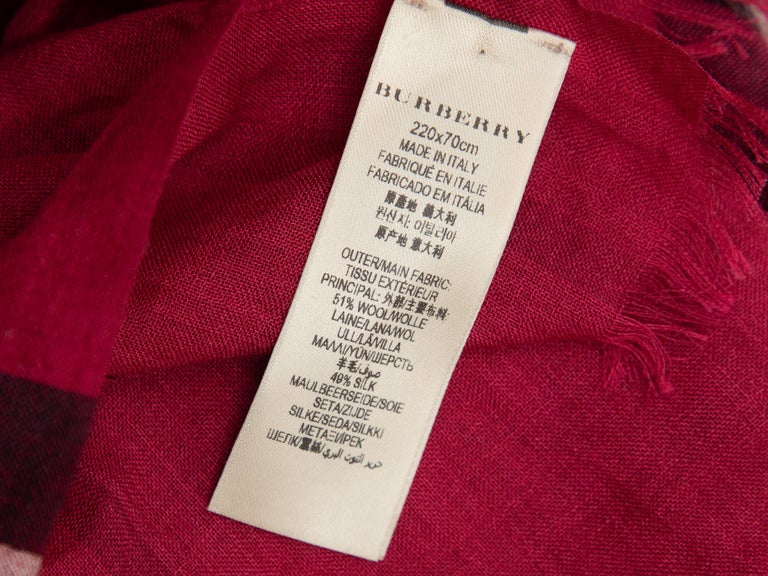Burberry Red & Multicolor Nova Check Silk-Blend Scarf In Good Condition For Sale In New York, NY