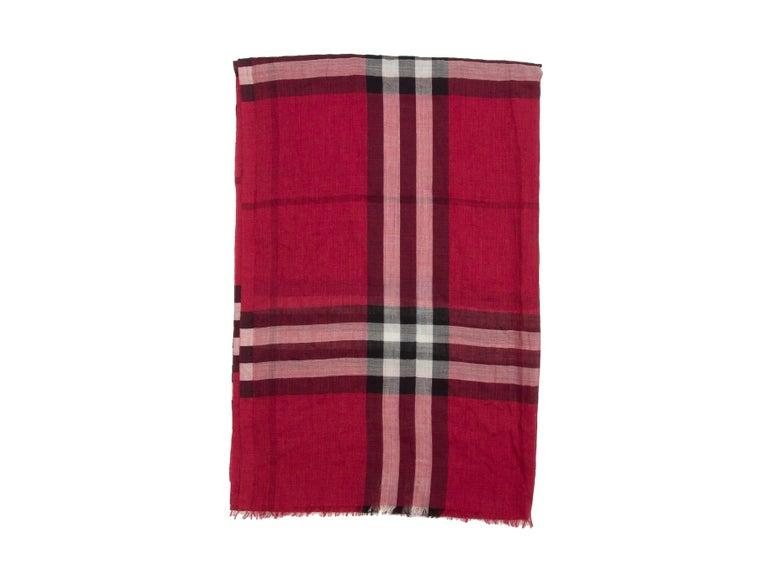 Women's Burberry Red & Multicolor Nova Check Silk-Blend Scarf For Sale