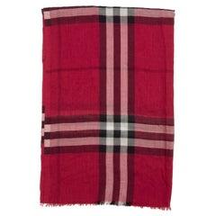 Burberry Red & Multicolor Nova Check Silk-Blend Scarf