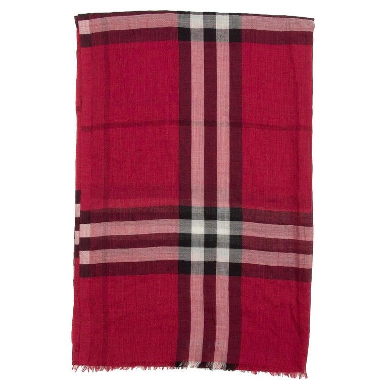 Burberry Red & Multicolor Nova Check Silk-Blend Scarf For Sale