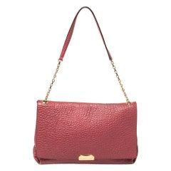 Burberry Red Pebbled Leather Flap Shoulder Bag