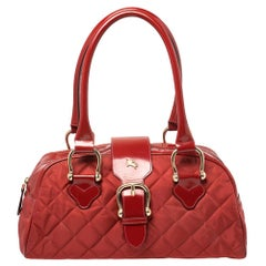 Burberry Red Quilted Nylon and Leather Satchel