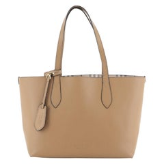 Burberry Reversible Tote Haymarket Coated Canvas and Leather Small