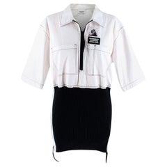 Burberry Rib Knit Detail Cotton Oversized Shirt XXS US 0