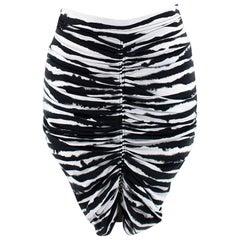 Burberry Ruched zebra-print stretch-cotton mini skirt - Size US 00