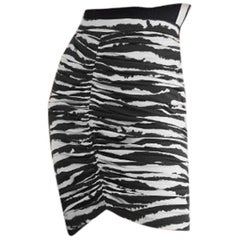 Burberry Ruched zebra-print stretch-cotton mini skirt UK2