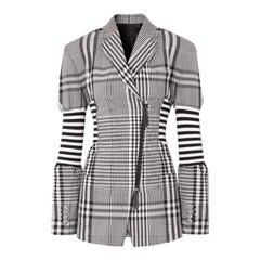 Burberry Runway Black & White Check Corset Detail Wool Blazer Jacket  Size US 00