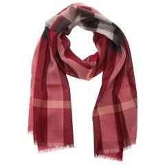 Burberry Scarf crimson pink check GAUZE HALF MEGA CHECK 39149621