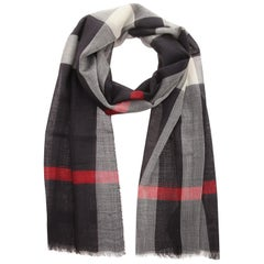Burberry Scarf navy check GAUZE HALF MEGA CHECK 38620661