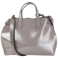 BURBERRY Sepia grey leather BANNER SOFT MEDIUM TOTE Bag