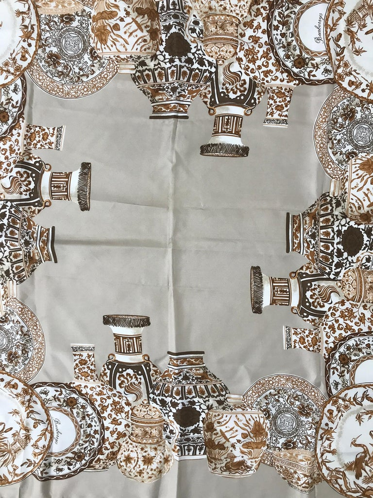 Women's or Men's Burberry Silk Scarf Transfer-ware China Pattern in Browns and Tan For Sale