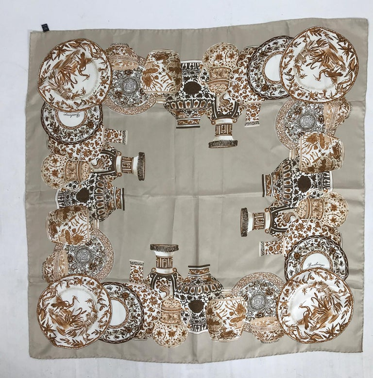 Burberry Silk Scarf Transfer-ware China Pattern in Browns and Tan For Sale 1