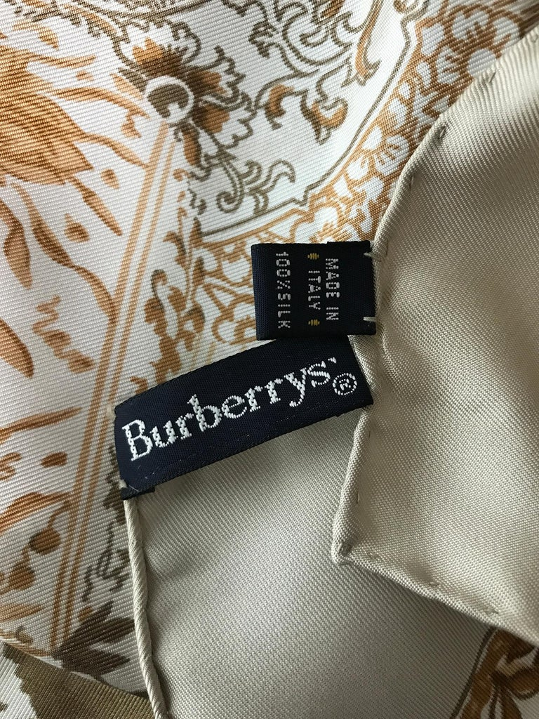 Burberry Silk Scarf Transfer-ware China Pattern in Browns and Tan For Sale 2