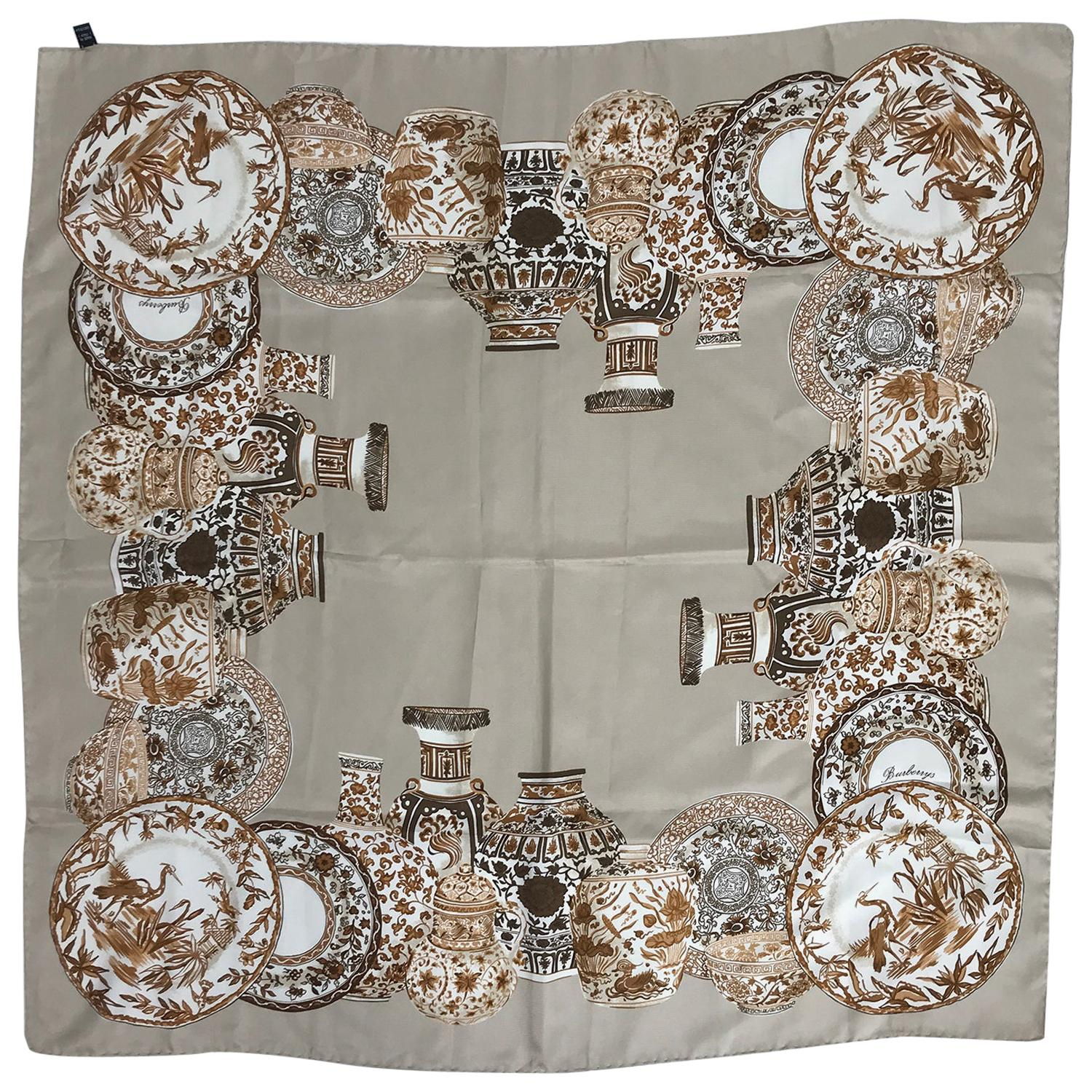 Burberry Silk Scarf Transfer-ware China Pattern in Browns and Tan