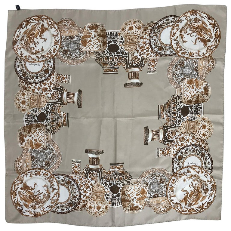 Burberry Silk Scarf Transfer-ware China Pattern in Browns and Tan For Sale