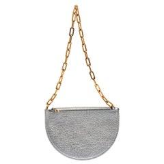 Burberry Silver Foil Leather Pecan Chain Strap Shoulder Bag