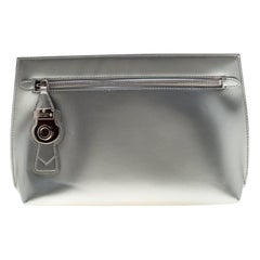 Burberry Silver Patent Leather Lock Trench Clutch