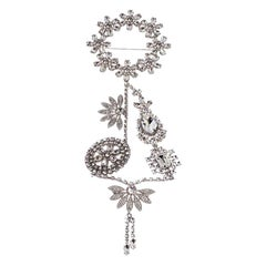 Burberry Silver Tone Daisy Wreath Crystal Brooch