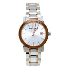 Burberry Silver White Two Tone Stainless Steel BU9105 Women's Wristwatch 34 mm