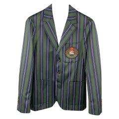 BURBERRY Size 36 Regular Green & Navy Vertical Stripe Wool / Cotton Notch Lapel