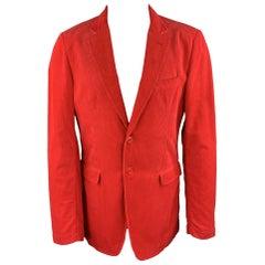 BURBERRY Size 40 Red Corduroy Notch Lapel Sport Coat