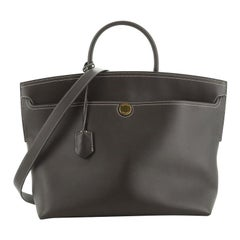 Burberry Society Top Handle Bag Leather Large