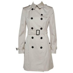 Burberry Stone Cotton Belted Trench Coat S