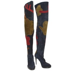 Burberry Suede Patchwork Thigh-High Boots, 37