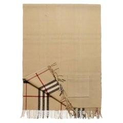 Burberry Tan Wool/Cashmere Helene Nova Plaid Shawl
