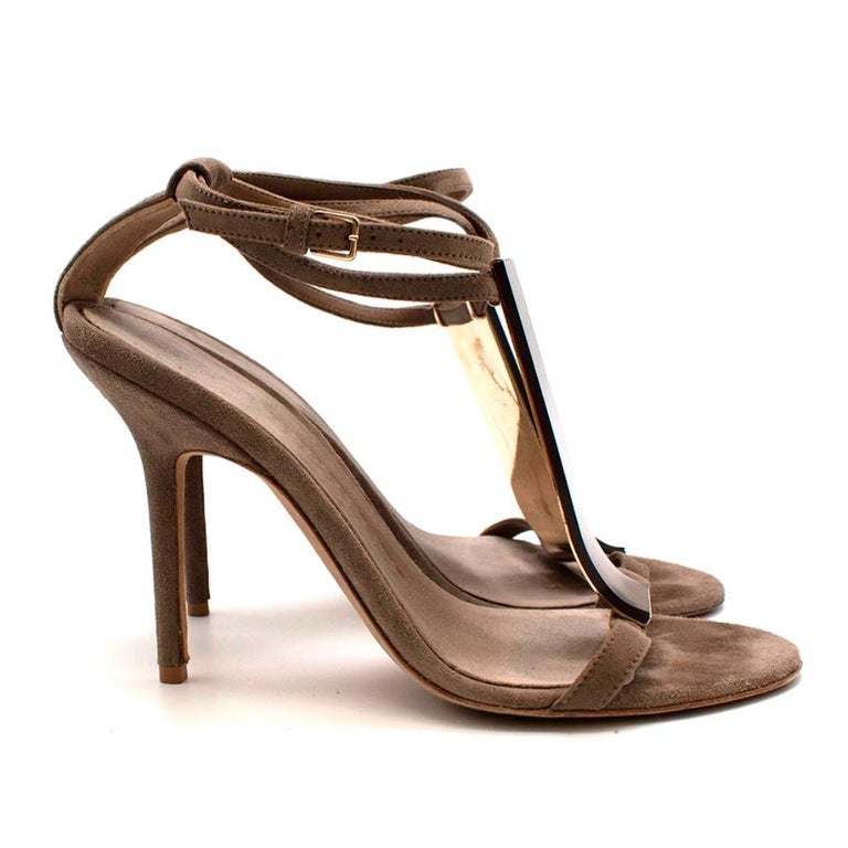 Burberry Taupe Suede T Copper Detail Strappy Sandals   -Soft velvet like suede  -Gorgeous neutral taupe hue  -Strappy style  -Copper detail to the front  -Classic timeless style  -Branded golden hardware o the back -Elegant, easy to style design
