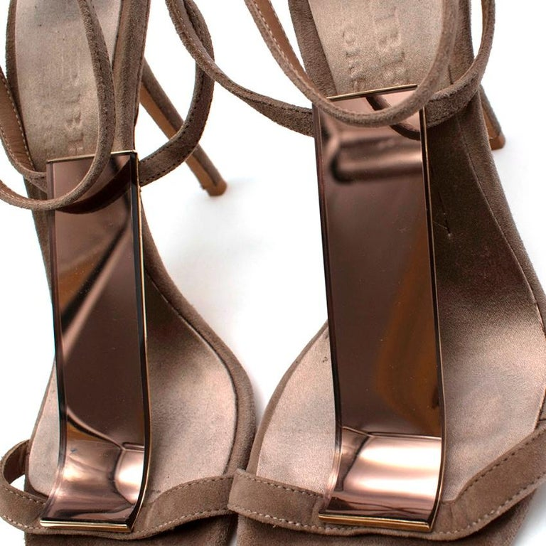 Brown Burberry Taupe Suede T Copper Detail Strappy Sandals - Size 38.5 For Sale